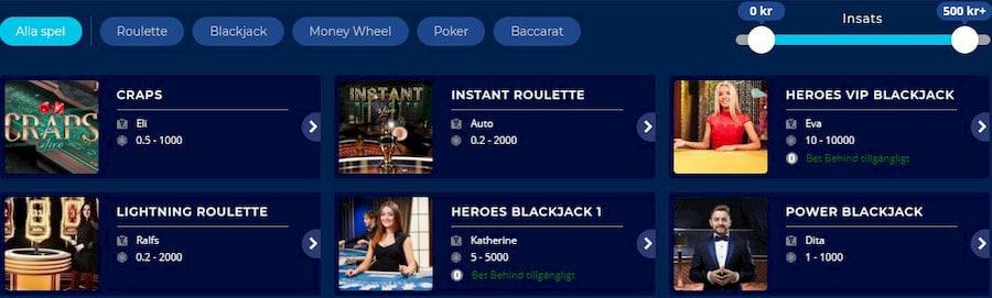 Casino Heroes Spelutbud och spelutvecklare