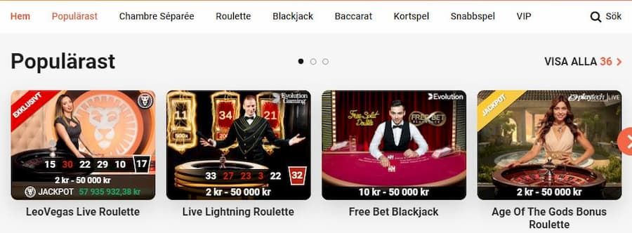 LeoVegas Casino spelutbud och spelleverantörer