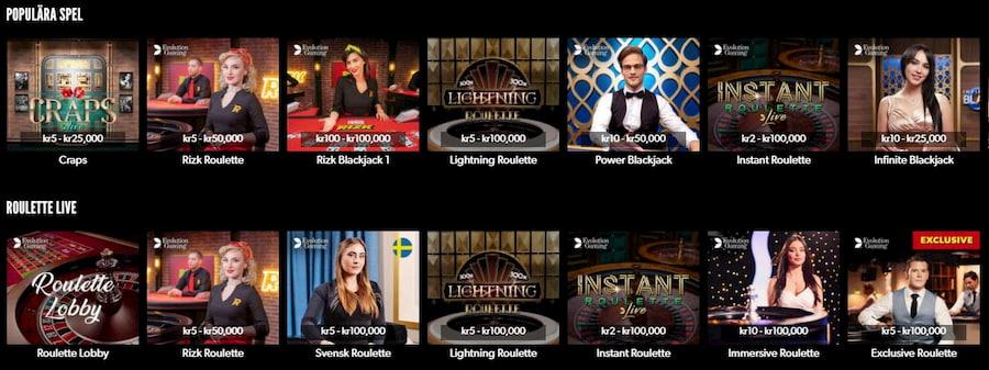 Rizk Casino spelutbud och spelutvecklare